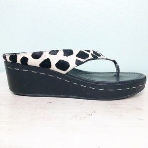 DONALD PLINER black white print WEDGE sandals 10M